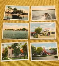6 Vintage Buckeye Lake Ohio Postcard Picnic Point ~ Catholic Church ~ Boat Scene