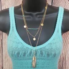 Gold Long Layered 3 Layer Fashion Feather Turquoise Boho Southwestern Necklace