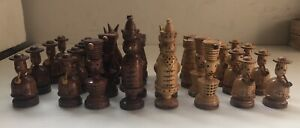 Antique 19th Century Rare Hand Carved Chess Pieces  Set - No Board