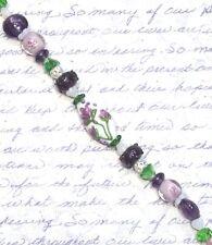 9 Pc. Floral Oval Lampwork Focal Glass Bead Set, Rondelles, 18 Bonus Beads