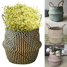 Woven Basket Plant Pot Baskets Seagrass Belly Storage Bag Home Garden Decoration