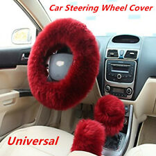 1Set 3Pcs Furry Steering Wheel Cover Shifter Cover and Parking Brake Cover Warm