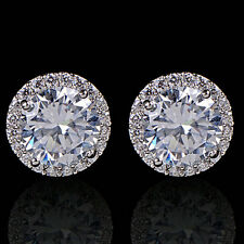 Women shine Crystal Zircon Inlaid Ear Stud Platinum Plated Earring jewerly