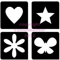 FG042 MINI MIXED x 4 Glitter Tattoo Body Art Stencils in packs of 10, 20 & 50