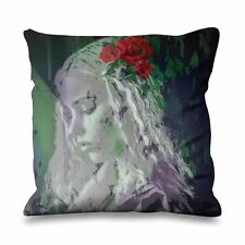 Girl with Red Roses in Hair Faux Silk 45cm x 45cm Sofa Cushion - Rose Floral