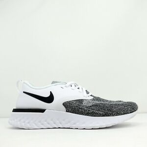 Nike Odyssey React 2 Flyknit Mens Running Shoes White Black AH1015-100 Size 8.5