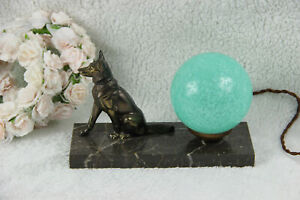 ART Deco German dog 1930 spelter bronze marble lamp signed