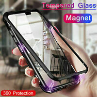 360° Magnetic Adsorption Metal + Tempered Glass Back Case Cover For Smart Phone