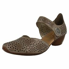 Ladies Rieker Heeled Shoes 43711 Beige UK 3 Standard