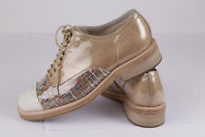 d629733b55b83 Womens Loafers CHANEL CC Cap Toe Lace Up Oxfords Flats Shoes Size 42
