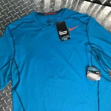 Nike Men's Athletic Sport Combat Fitted Long Sleeves Blue Navy Red Nwt Size Xl