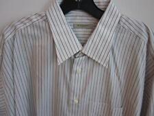 BURBERRY LONDON BTN DWN DRESS SHIRT SZ 17.5/34 COTTON GRAY & WHITE STRIPES NWT