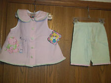 Girls Size 18 Months Picture Me 2 Piece Top Pants Bubble Bear Green Pink