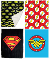 JPI Batman Superman Wonder Woman Sherpa Fleece Faux Fur Throw Blanket 100% Polye