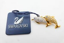 Nwt Swarovski Silver-Tone Gold-Tone Crystal Double Leaping Dolphin Brooch Pin