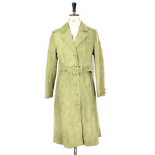 Women's 70's Style GENUINE SUEDE Green Trench BELTED Smart MOD Mac Coat UK S