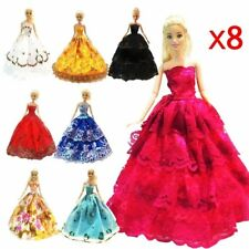 8Pcs Barbie Handmade Fashion Wedding Party Gown Dresses (Random Collection)