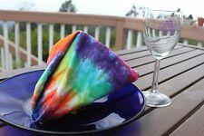 Tie dye rainbow linen napkin