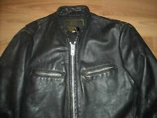 VTG 70S S 38 MENS AWESOME BLACK BEAU BREED LEATHER MOTORCYCLE CAFE RACER JACKET