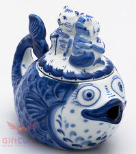 Porcelain Gzhel teapot coffee server fish and cats souvenir handmade in Russia