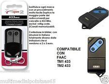 TELECOMANDO X CANCELLI SERRANDE COMPATIBILE FAAC TM1 433 TM2 433