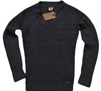 Timberland Women's Jumper Boucle Grey Wool Blend Sweater Metal Logo V Neck BNWT