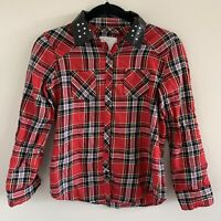 Justice Red Plaid Long Sleeve Button Up Shirt Top Size 12 Winter Holiday Gems