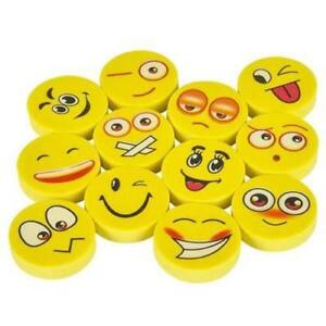 12 PACK EMOJI EMOTICON SMILE FACE ERASERS - FUN KIDS STATIONERY PARTY BAG GIFT