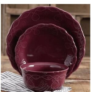 The Pioneer Woman Cowgirl Lace 12-Piece Dinnerware Set Plum