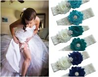 Wedding garter plus size something blue for bride ivory lace belt wiht flowers