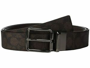 COACH Men's Wide Harness Logo Signature Reversible Belt Brown One Size NEW $195