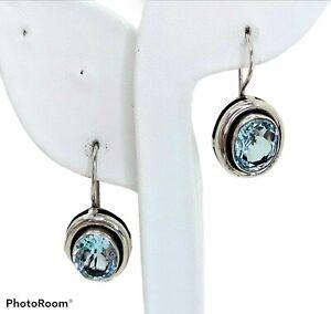 """SILPADA Faceted Blue Topaz Earrings, 1.19"""" Drop, 925 Sterling Dangle Ear Wires"""