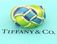 Tiffany & Co Vintage 18K Yellow Gold Schlumberger Green & Blue Enamel Ring Sz 6
