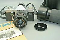 Vintage Ricoh Singlex TLS 35mm SLR Camera with 35mm & 80-210 zoom lens +(WORKING