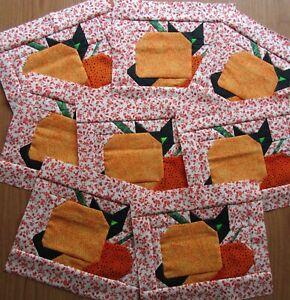 "8 Pieced Black Cat behind Halloween Pumpkins w tail upfront quilt block 7 x 8"""