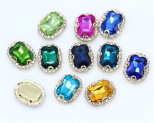 20pcs Sew On 13x18mm rectangle rhinestone cut crystal glass diy supplies dress