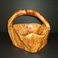 Vintage Burl Wood Basket Bowl Hand Carved Turned Tree Trunk Root Large Old