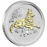 2018 Year of the Dog 1oz Silver Gilded Edition
