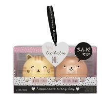 Oh K! Duo Lip Balm Set Cat Kitty Cats Bear Beauty Gift NEW