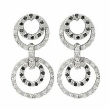Zirconia Open Circle Dangle Earrings Sterling Silver Black and White Cubic