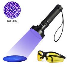 UV Violet 100LED Flashlight Scorpion Blacklight Lamp Torch Inspection+Sunglasses
