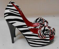 "Blacks/white Animal Print Zebra 4.5"" heel 1"" platform open toe shoes Size 5.5"