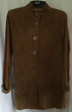 South Ladies Suede/Leather Brown Knee Length Coat, size 18