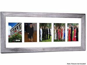 CPF - 5 Opening 10x24 Glass Face Driftwood Frame to Hold 4x6 Photos