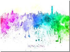 """Hong Kong City Skyline China Watercolor Abstract *FRAMED* Canvas Print 24x16"""""""