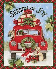 "36"" Fabric Panel - Springs Susan Winget Season Joy Red Pickup Truck Christmas"
