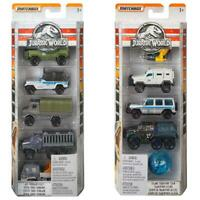 Matchbox Jurassic World Die-Cast 5 Car Pack Assortment - 2 Packs Included!