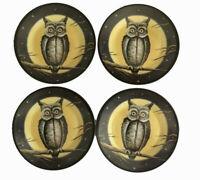 "Halloween Spooky Owl Moon Melamine Tidbit Candy Appetizer Plates 6"" Set of 4"