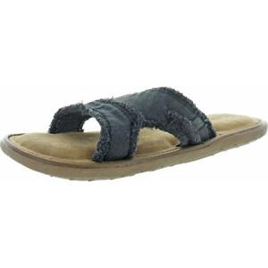 Crevo Cory Frayed Hemp Memory Foam Slide Sandals for Men