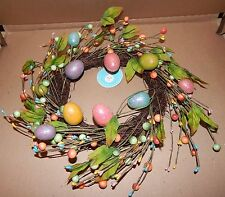 """Easter Wreath 10"""" Natural Looking Twigs & Sticks Glitter Eggs 111M"""